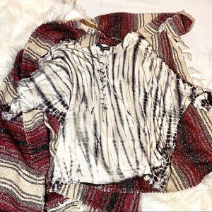 Rock & Republic Tie-Dye Slouchy Lace Up Top